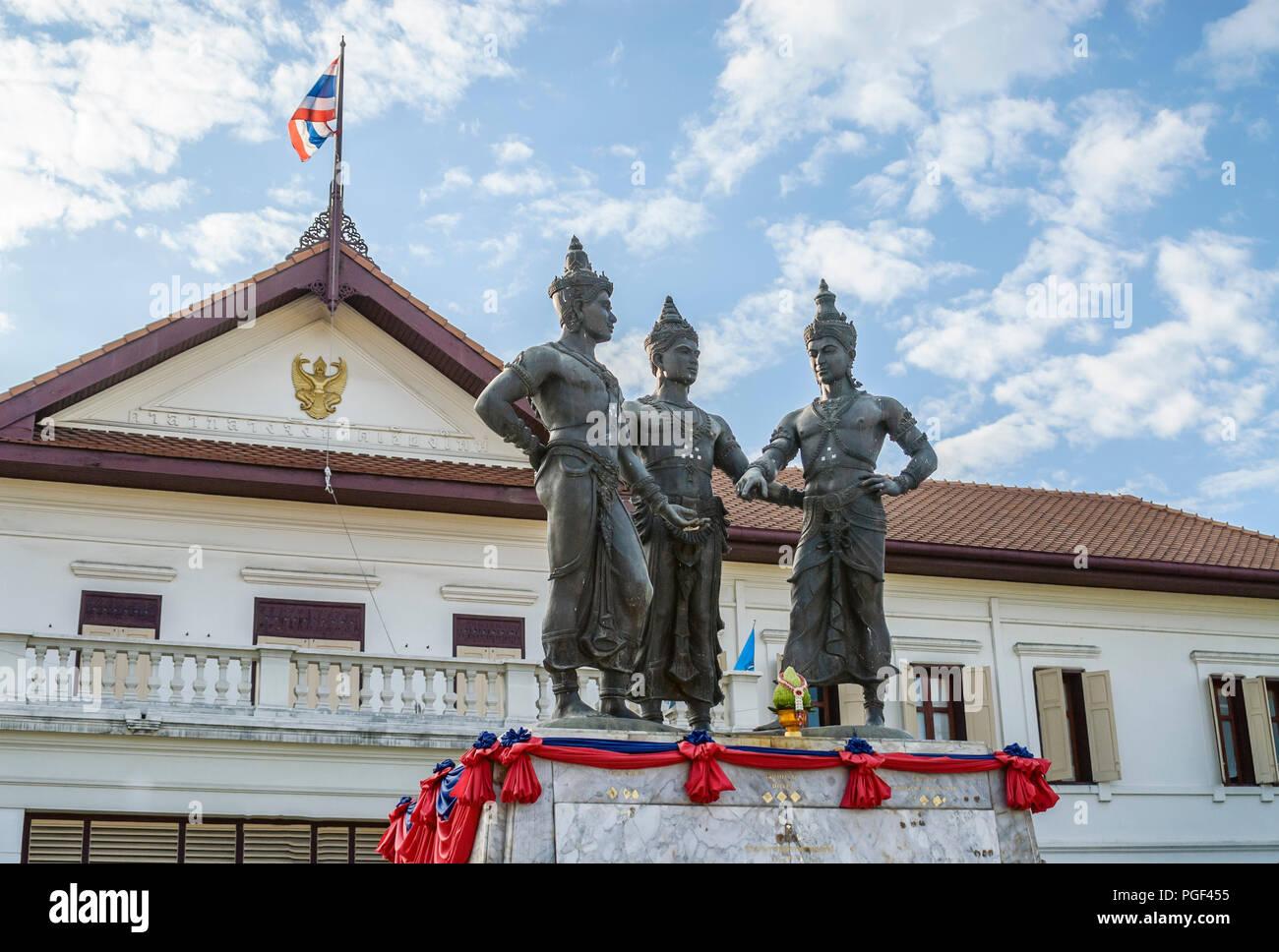 Three Kings Monument, Chiang Mai, Thailand | Drei Königs-Denkmal, Chiang Mai, Thailand - Stock Image
