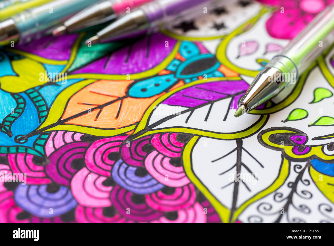 Adult Coloring Book New Stress Relieving Trend Art Therapy Mental Health Creativity And Mindfulness Concept Adult Coloring Page With Pastel Color Stock Photo Alamy