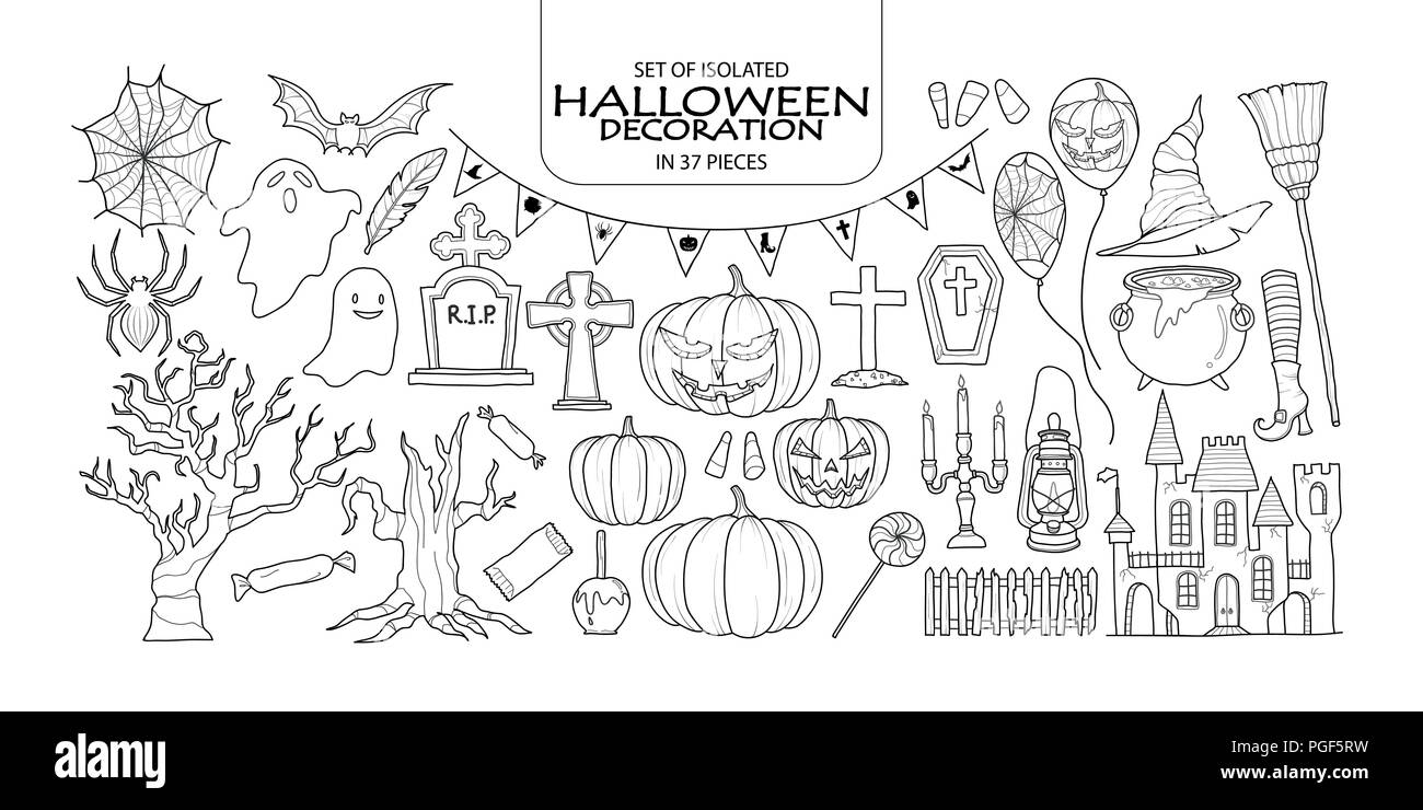 Set of isolated Halloween decoration in 37 pieces. Cute hand drawn haunted theme vector illustration in black outline and white plane on white backgro - Stock Vector