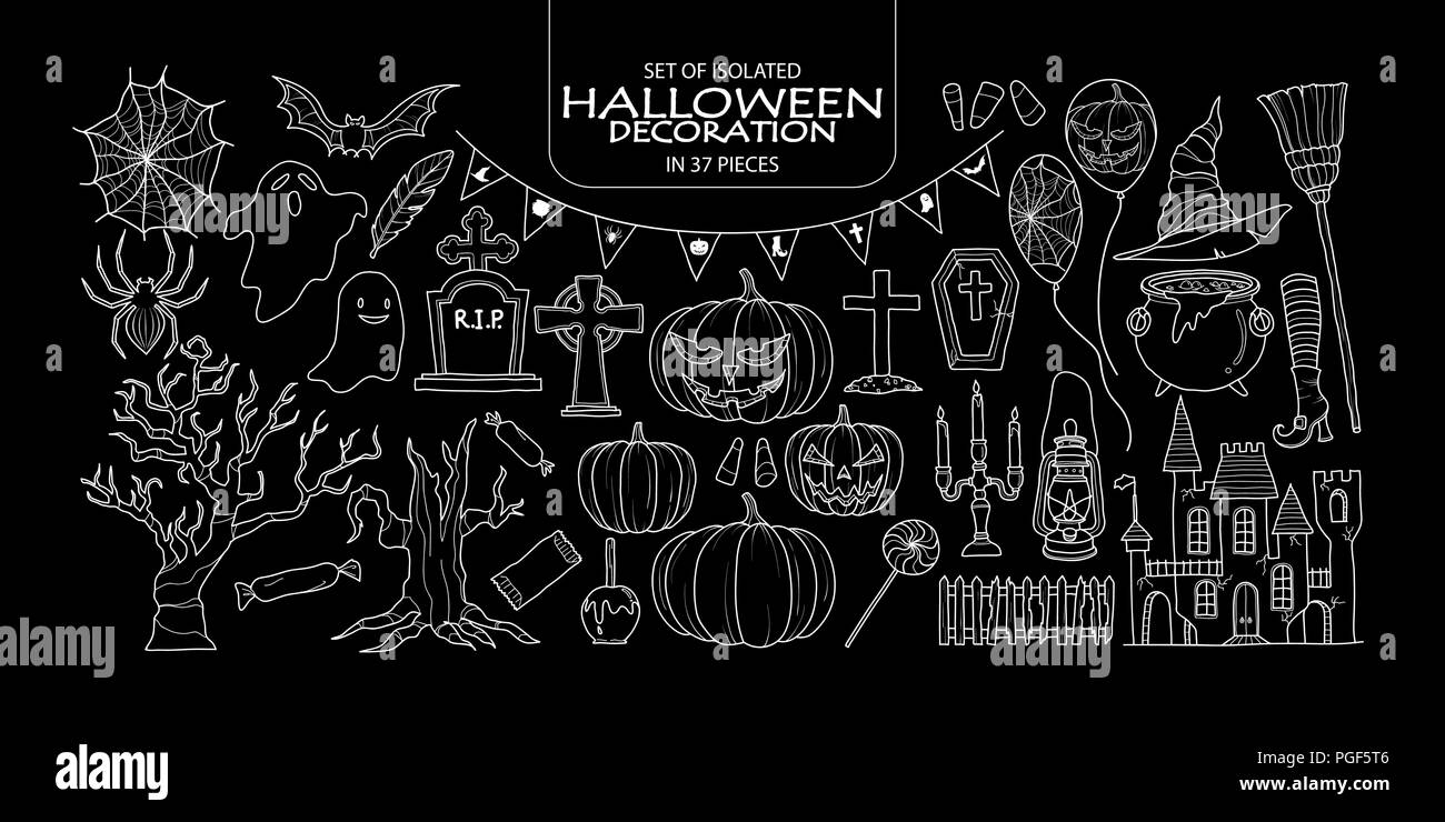 Set of isolated Halloween decoration in 37 pieces. Cute hand drawn haunted theme vector illustration only white outline on black background. - Stock Vector