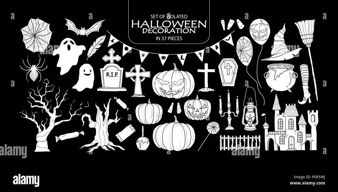 Set of isolated white silhouette Halloween decoration in 37 pieces. Cute hand drawn haunted theme vector illustration in white plane without outline o - Stock Vector