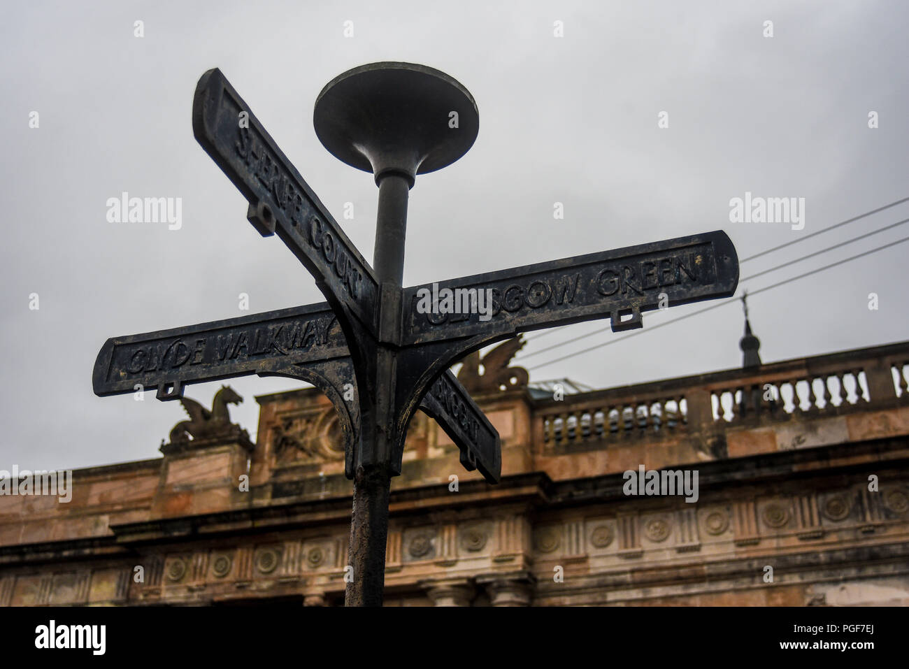 Old sign to indicate the names of the streets in the city of Glasgow Scotland - Stock Image