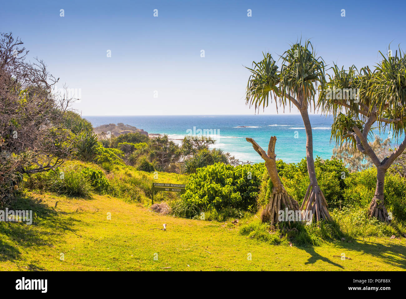 Panoramic view out over the ocean at Point Lookout on North Stradbroke Island, Queensland, Australia - Stock Image