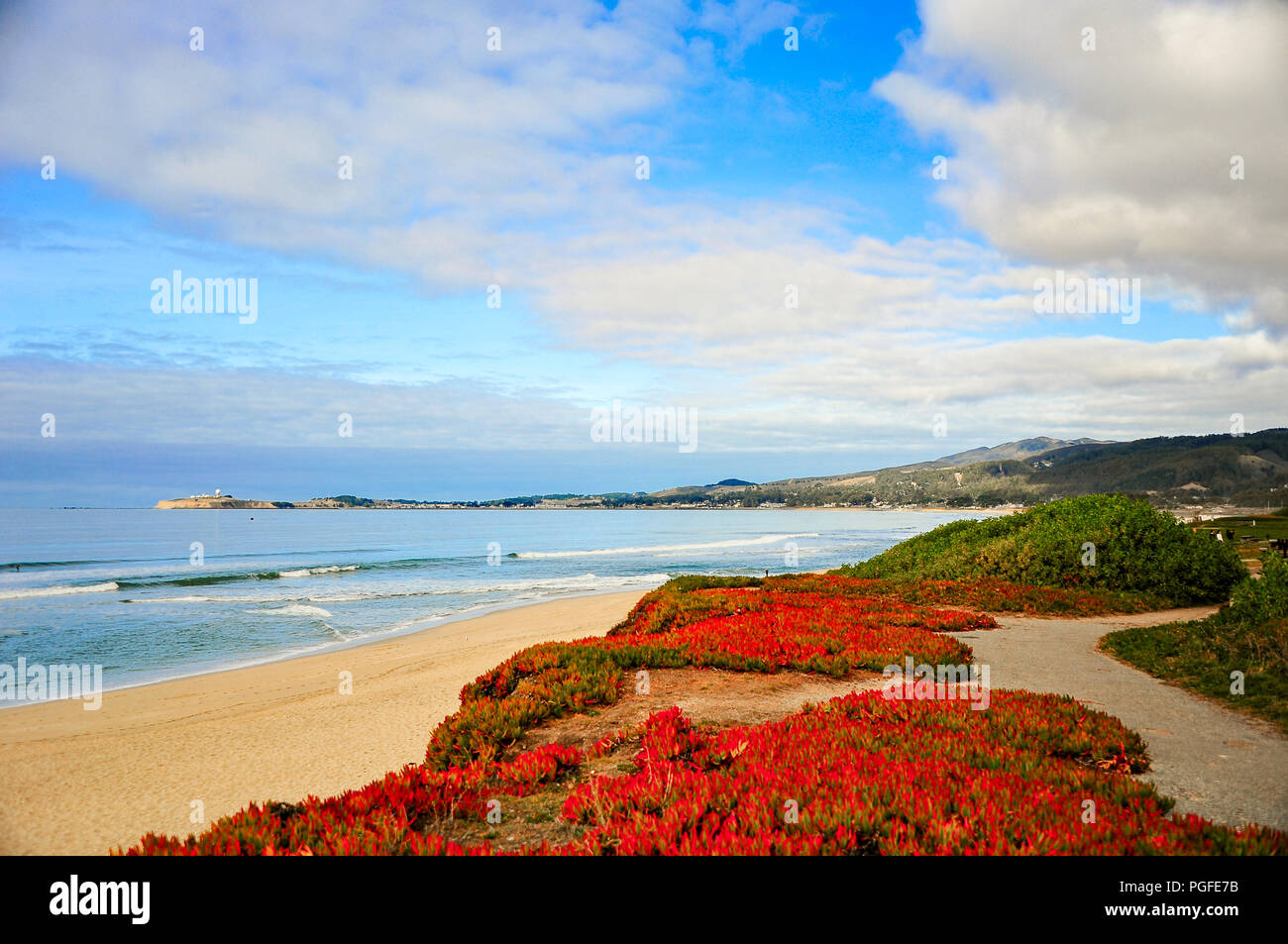 Beautful Pacific ocean seascape at Pebble beach near Monterey, California. Foggy background with crashing waves, sandy shore, rocks and blue cloud sky - Stock Image