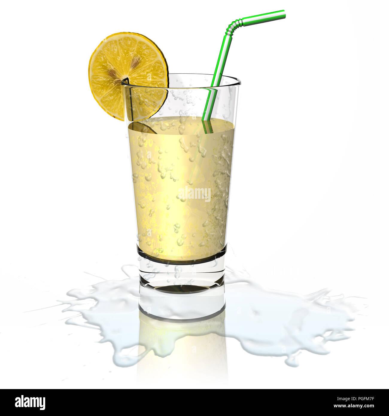 3D illustration.Glass of fresh and refreshing lemonade. - Stock Image