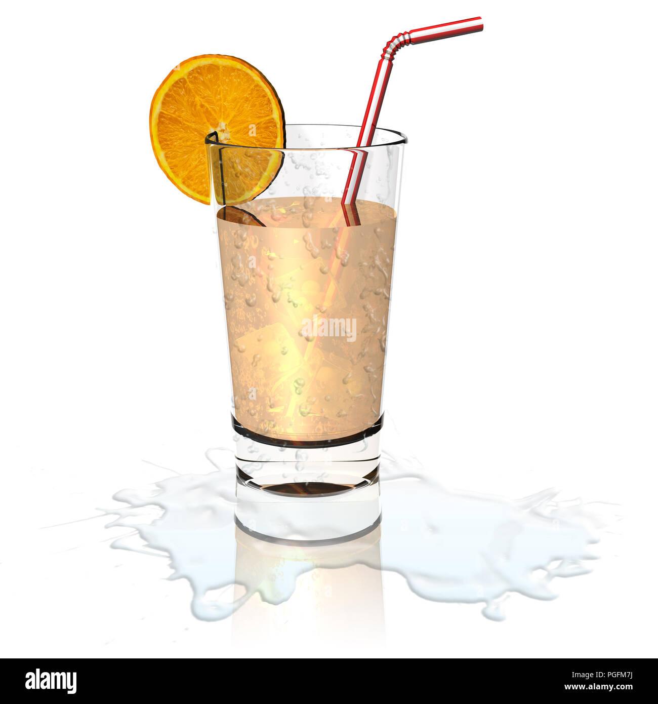 3D illustration. Glass of fresh and refreshing orange juice. - Stock Image
