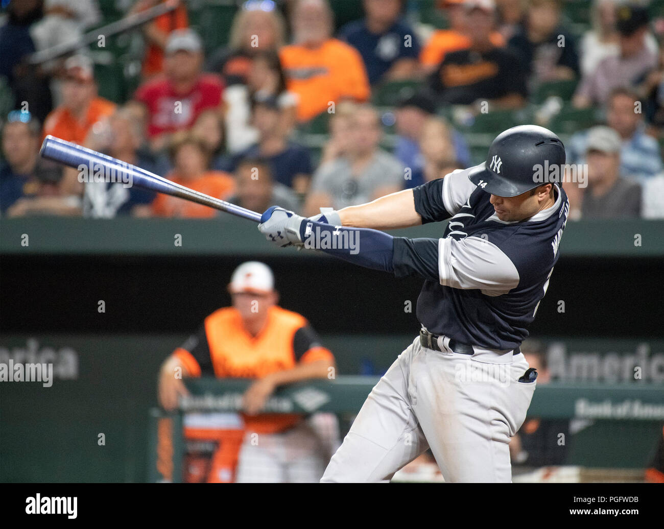 New York Yankees second baseman Neil Walker (14) bats in the first inning  against the Baltimore Orioles at Oriole Park at Camden Yards in ... 3ef28cf27df