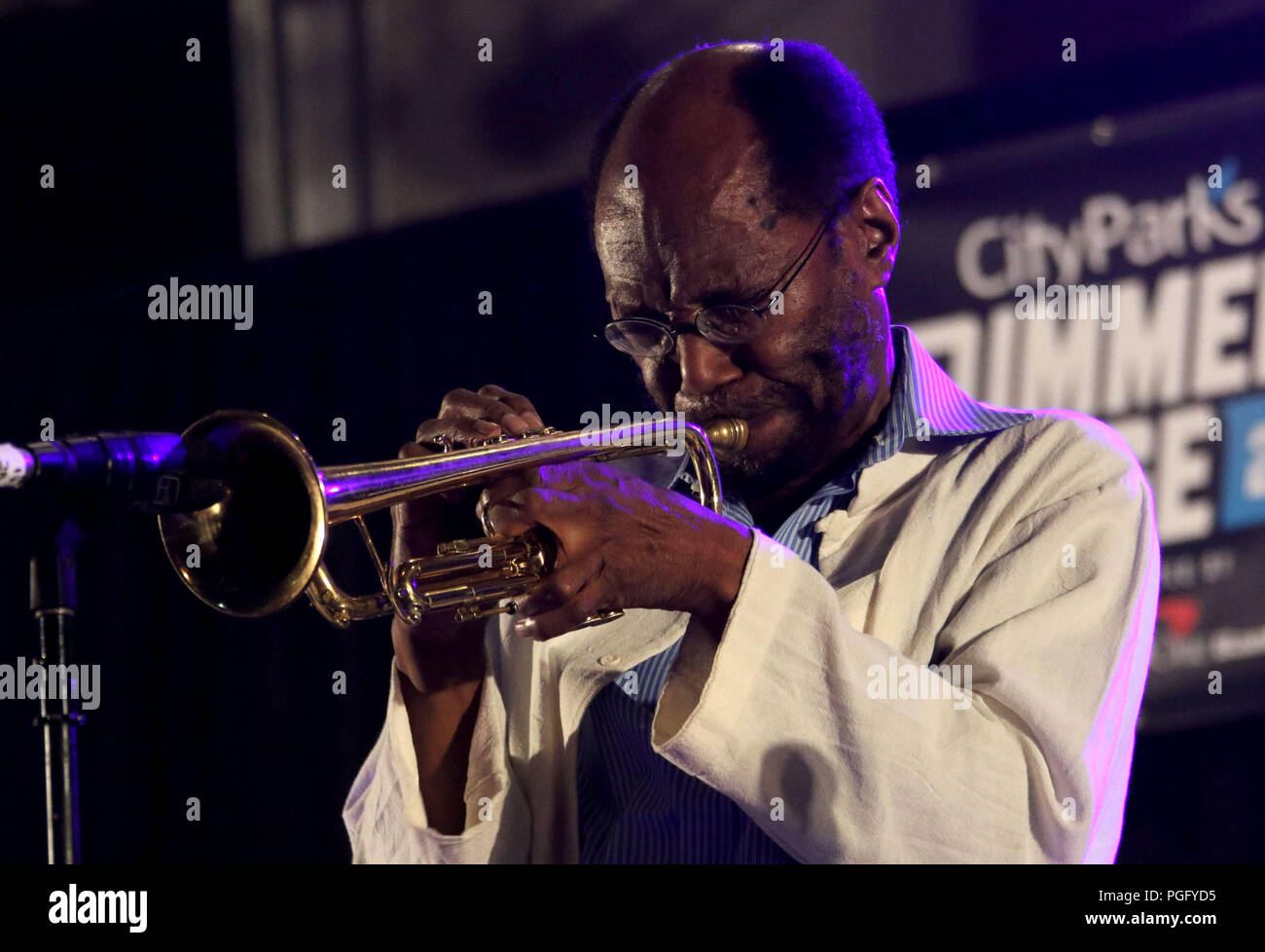 New York City New York Usa 24th Aug 2018 Jazz Trumpet Player Charles Tolliver Performs During The two playgrounds are built for all. alamy