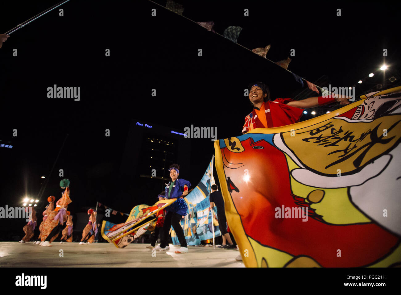 Nagoya, aichi, Japan. 26th Aug, 2018. Participants seen performing on the main stage.Nippon Domannaka Festival in Nagoya, Aichi. One of the largest dance festival in Japan. The festival had 210 dance teams with 23,000 performers from inside and outside Japan, and about 2 million viewers. Credit: Takahiro Yoshida/SOPA Images/ZUMA Wire/Alamy Live News - Stock Image