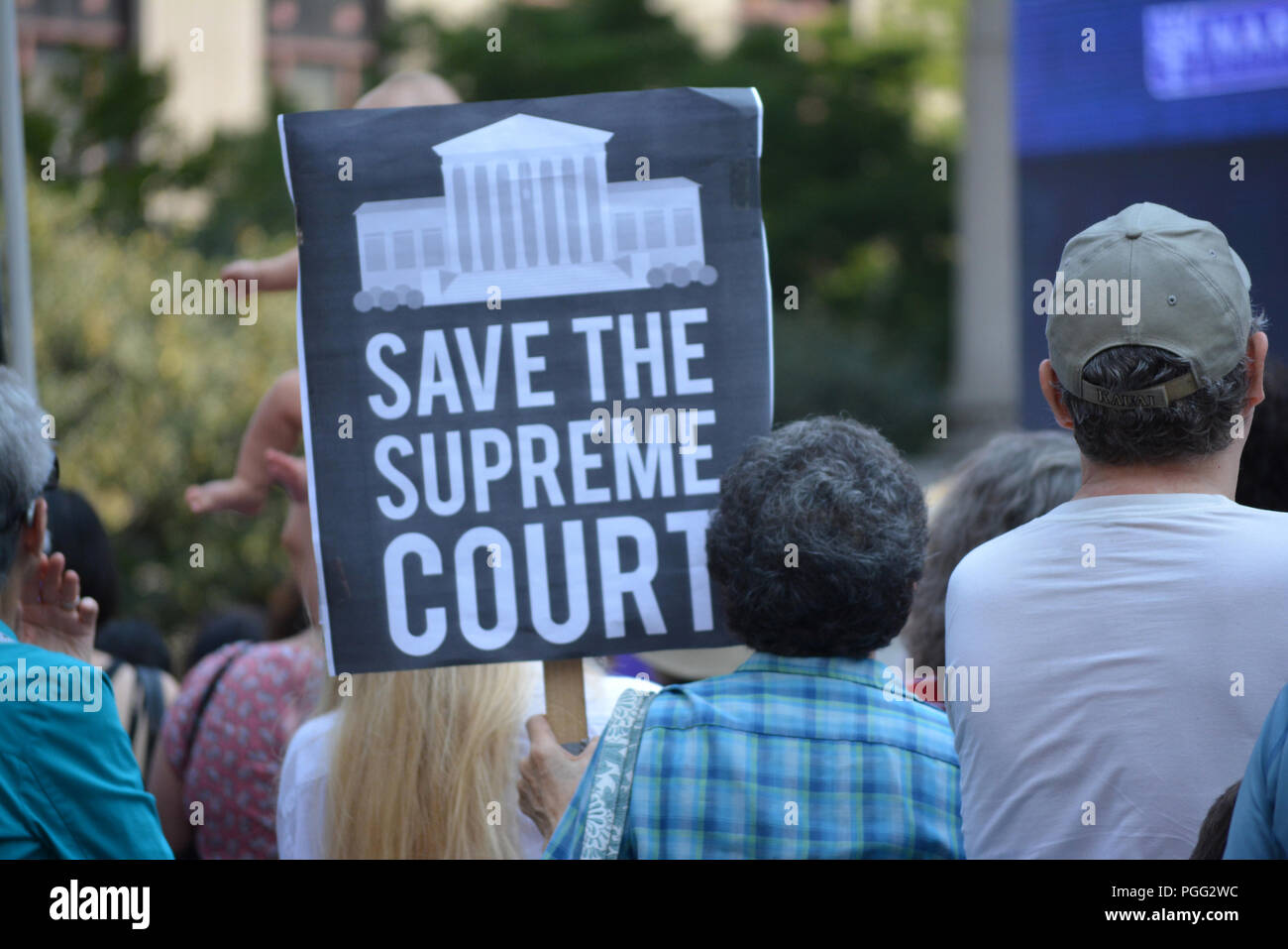 New York, USA. 26th Aug 2018. People protesting Supreme Court nominee Brett Kavanaugh at a rally in New York City.. Credit: Christopher Penler/Alamy Live News - Stock Image