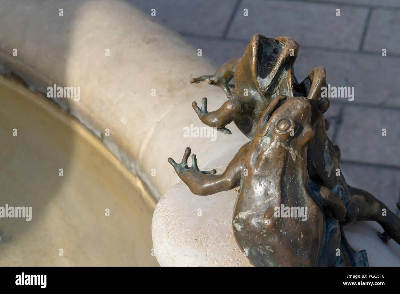 Francia, Regione della Borgogna, città di Digione: fontana con ornamento raffigurante rane - Stock Image