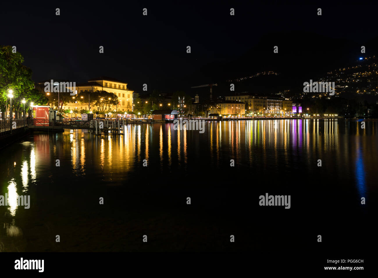 Nightlife in Lugano, Ticinio, Switzerland Stock Photo