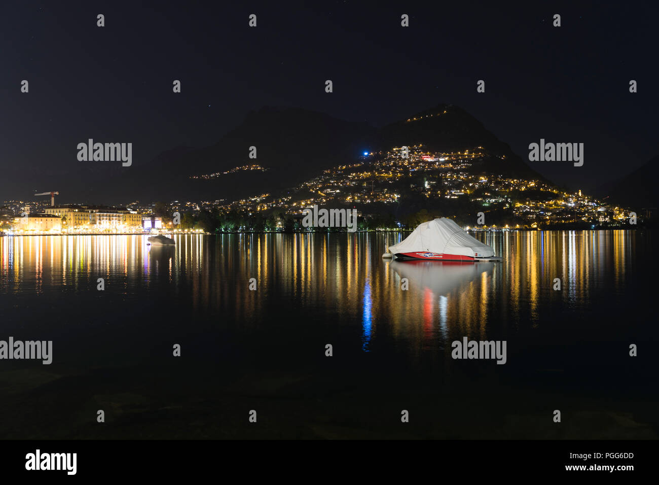 Nightlife in Lugano, Ticinio, Switzerland Stock Photo