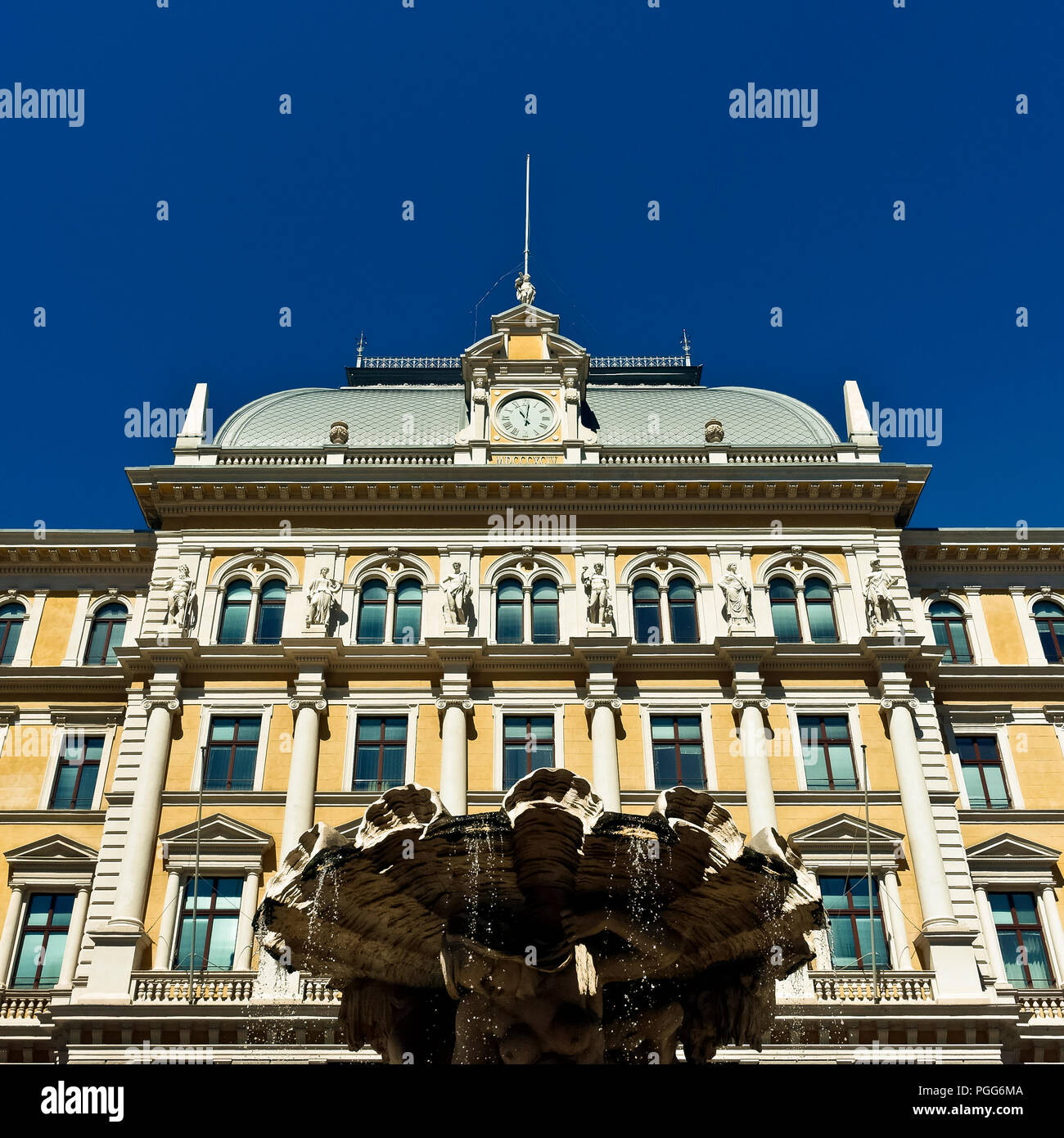 Central Post Office and Middle European Postal and Telegraph Museum, Piazza Vittorio Veneto Square. Trieste, Italy, Europe. Clear blue sky, copy space Stock Photo
