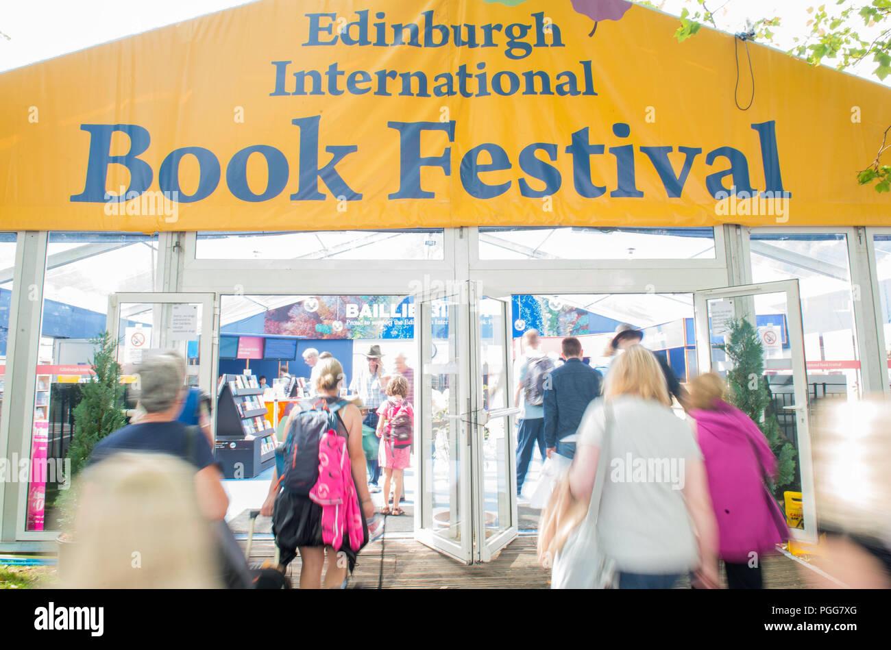 Edinburgh International Book Festival, Charlotte Square Gardens, GV 2017 - Stock Image