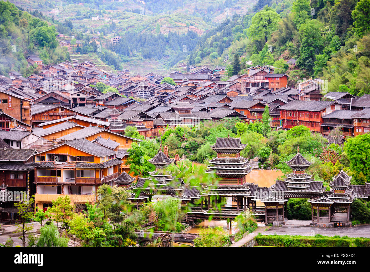 Dong Village,Ancient Architecture,Customs,Dress,Best Preserved in China,Zhaoxing Village,Guizhou Province,PRC,People's Republic of China,China Stock Photo