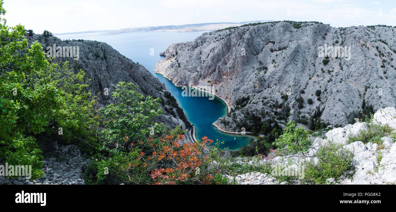 Zavratnica is a 900 m long narrow inlet located at the foot of the mighty Velebit Mountains, in the northern part of the Adriatic Sea. Stock Photo