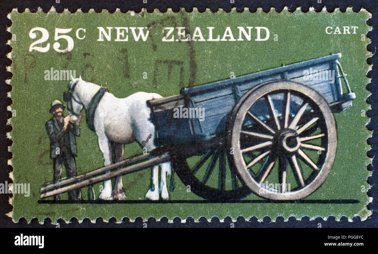NEW ZEALAND - CIRCA 1976: stamp printed by New Zealand, shows Farm Vehicles, One-horse cart, circa 1976 - Stock Image