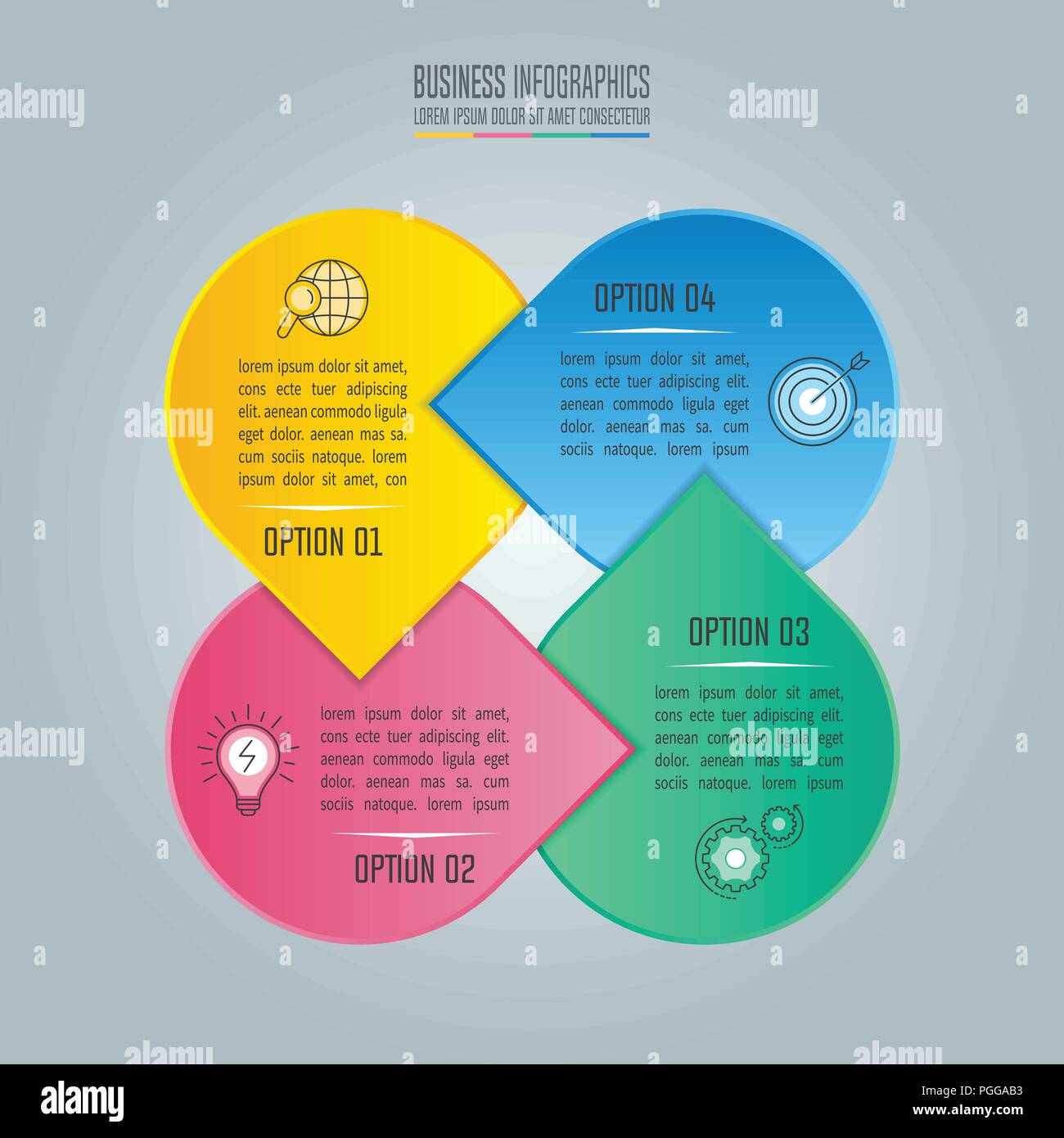 creative concept for infographic with 4 options parts or processes