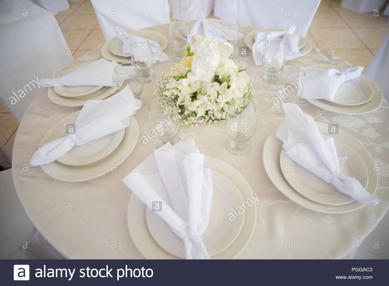 Table for meal - Baptism - Stock Image