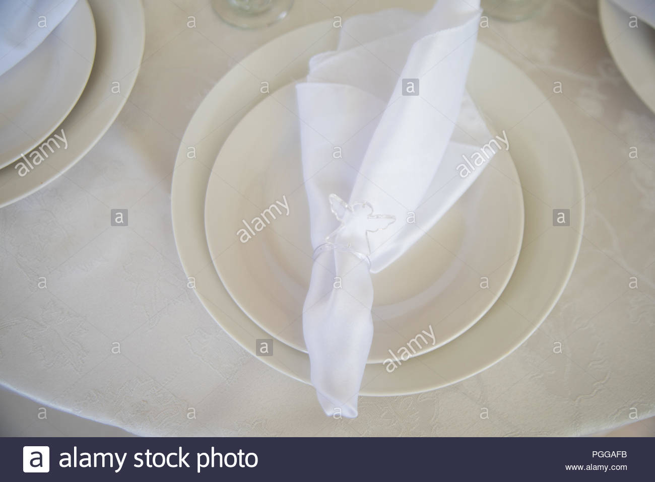 Plates for meal - Baptism - Stock Image