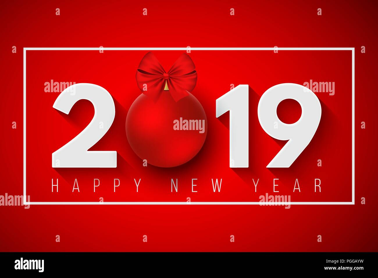 happy new year 2019 festive banner for your project falling snowflakes on a light red background paper numbers with a new years toy vector illust