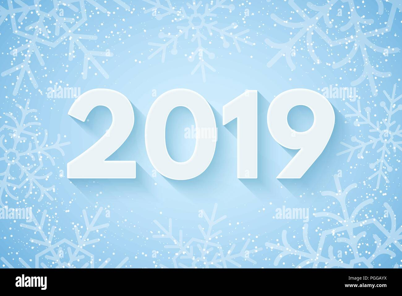 happy new year 2019 festive cover for your project falling snowflakes on a light blue background paper numbers with a shadow vector illustration