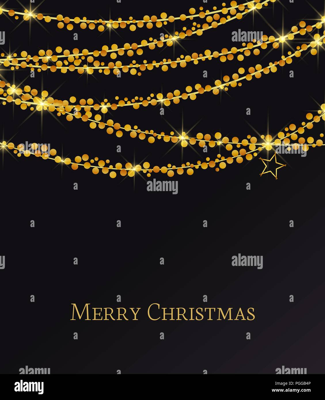 c0a5f54c740 Vector illustration abstract Christmas background. Lights on black  background. Gold Holiday New year glitter.
