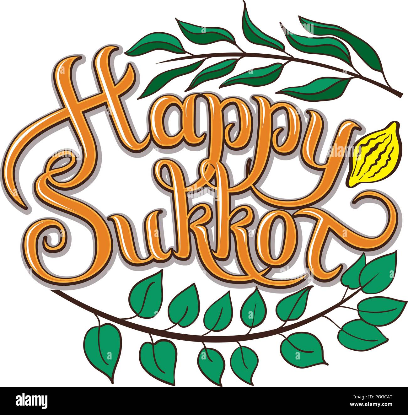 Happy Sukkot hand drawn vector card, border, background, banner, frame with hand lettered sign, palm leaf, citron, myrtle and willow leaves - Stock Image