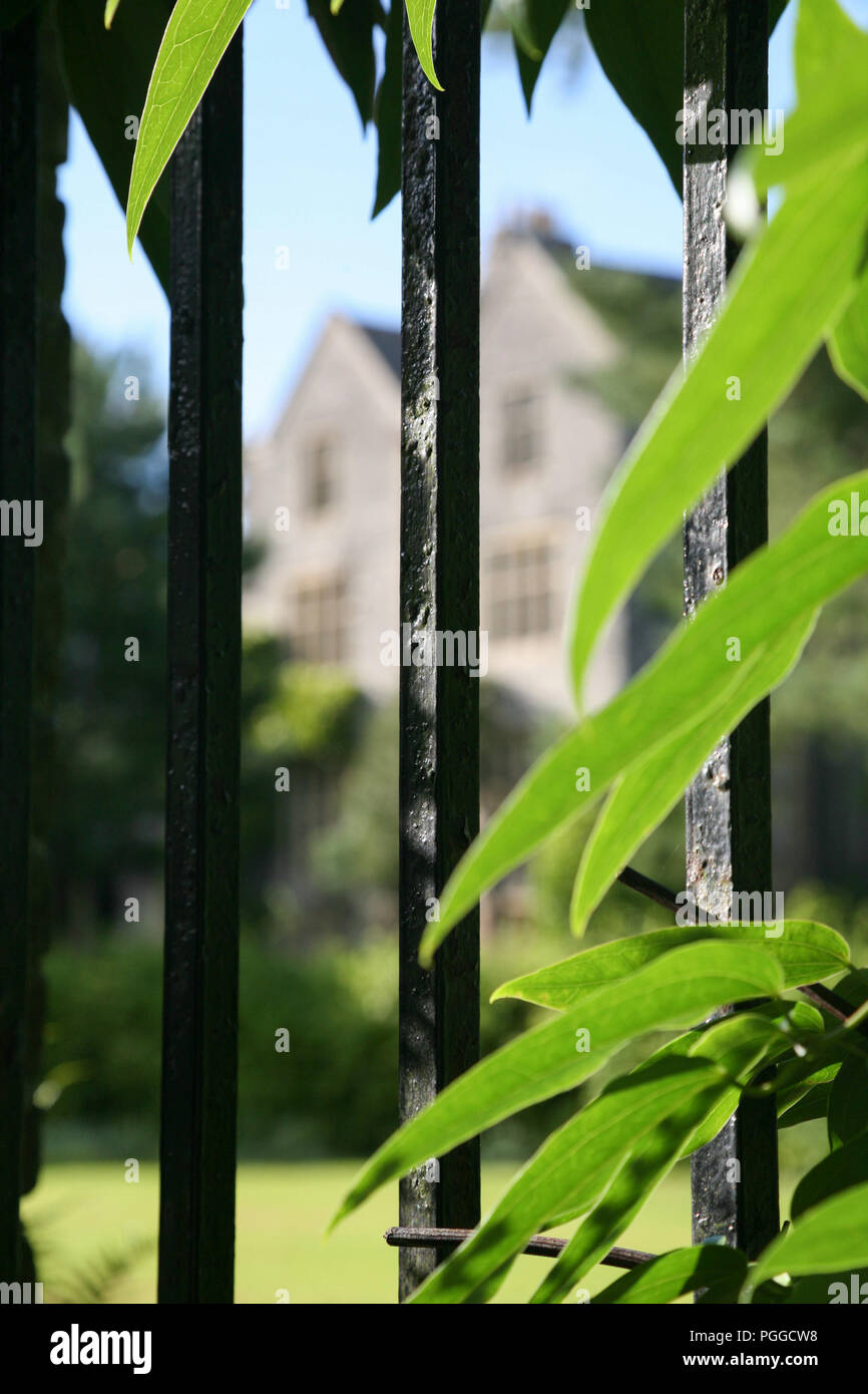 Looking through iron rails into grounds of Darlington Hall,Totnes, Devon, England, UK Stock Photo