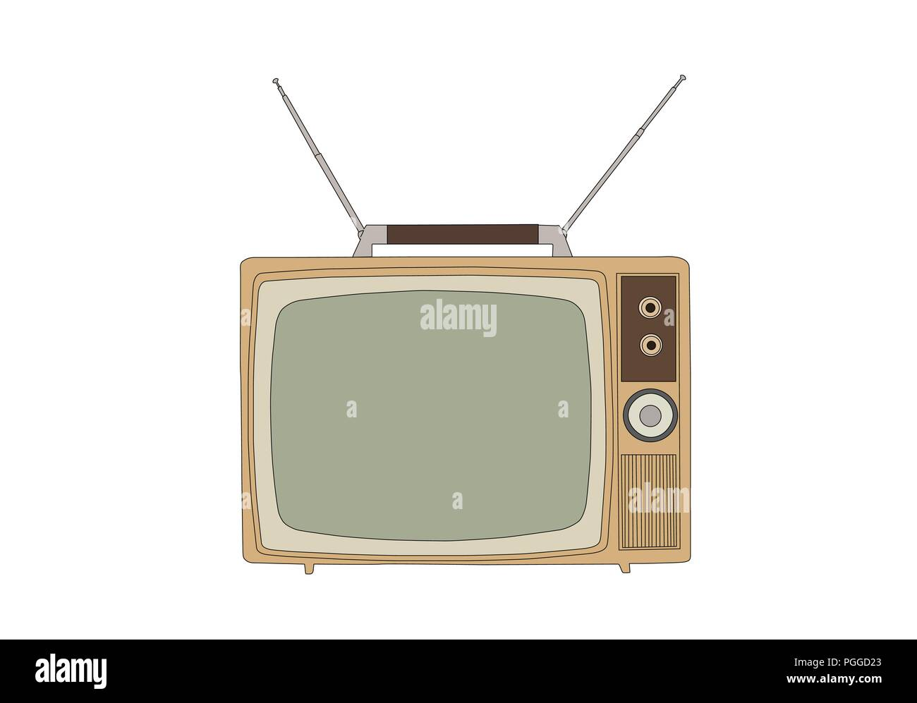 Retro 1960s vintage television isolated on white vector illustration. - Stock Image