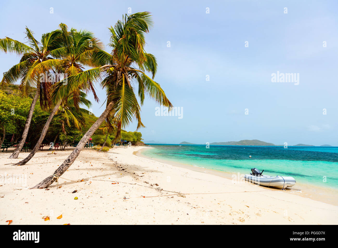 Idyllic tropical beach with white sand, palm trees and turquoise Caribbean sea water on exotic island at Tobago cays in St Vincent and the Grenadines - Stock Image