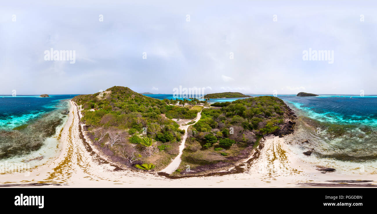 Beautiful 360 degree panorama aerial drone view of tropical islands and turquoise Caribbean sea of Tobago cays in St Vincent and Grenadines - Stock Image