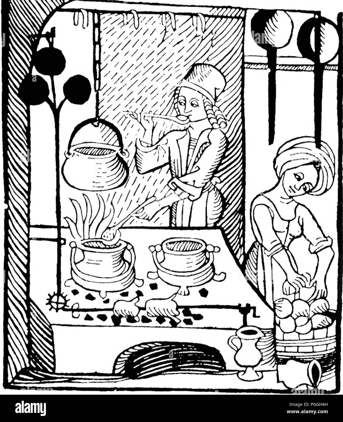 german cook black and white stock photos images alamy BWGE 1950s TV's a cook at the hearth with his trademark ladle woodcut illustration from kuchenmaistrey the