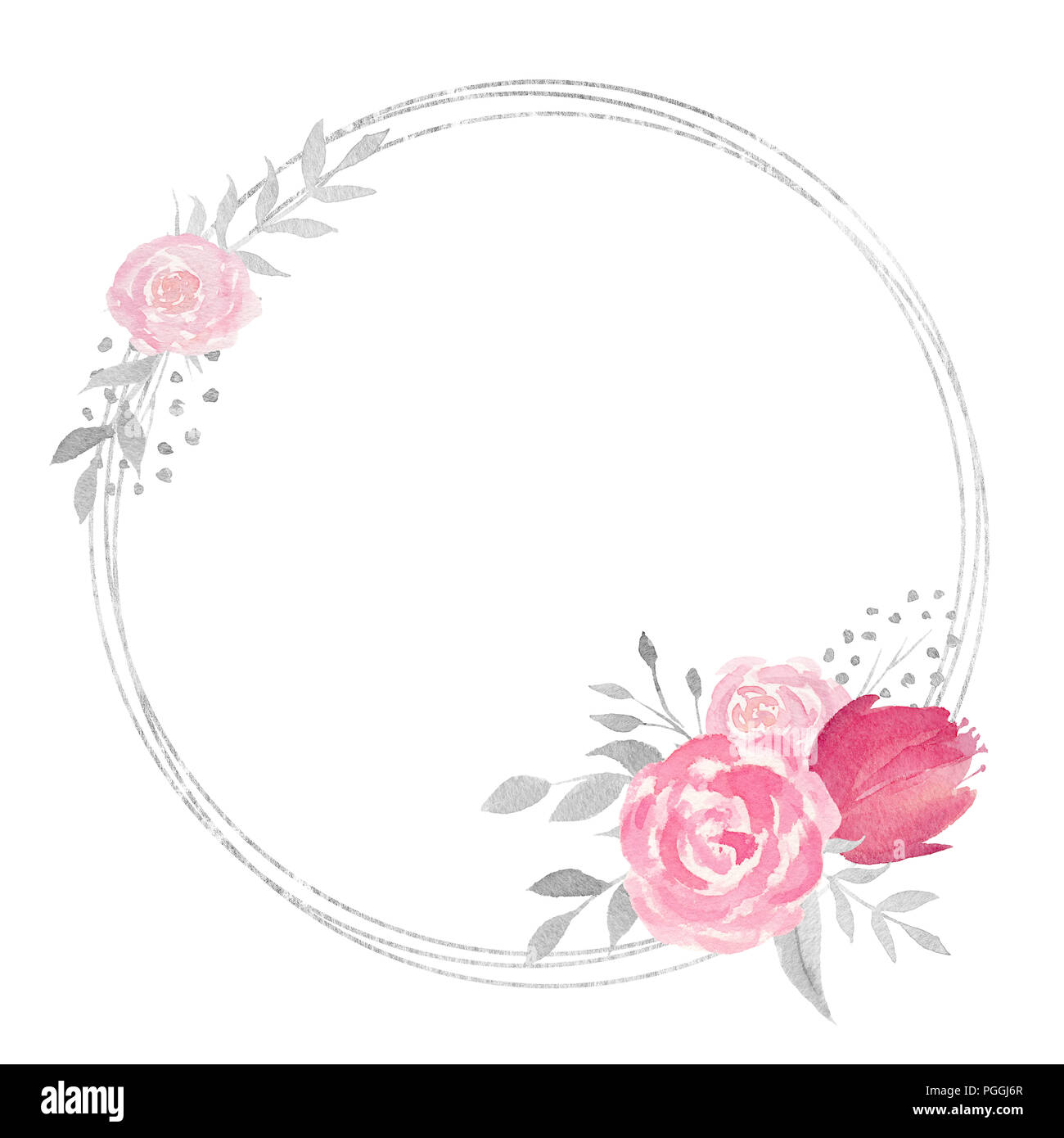 Watercolor floral frame with rose, leaves, butterflies, flowers and ...