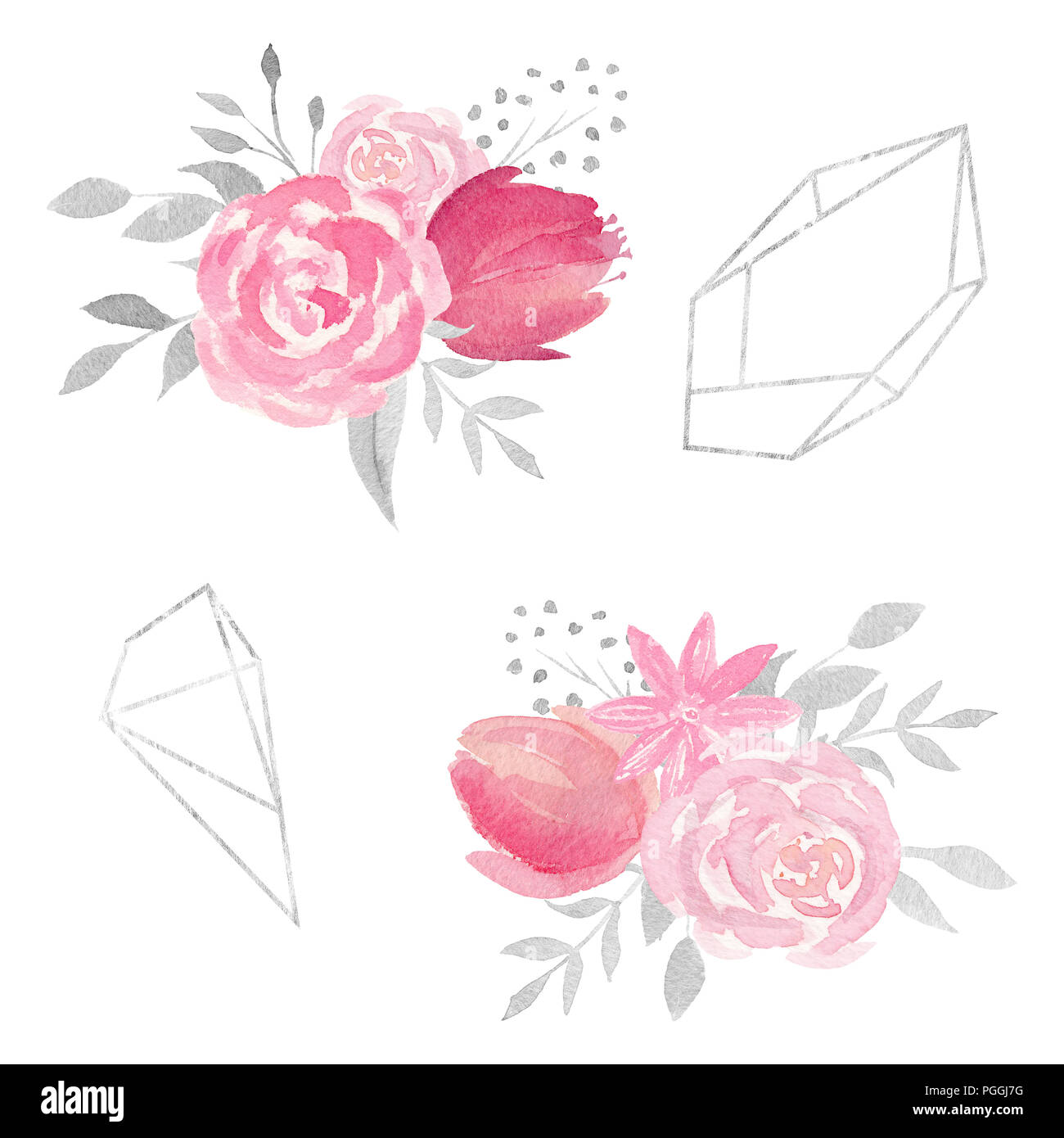 Set Of Watercolor Floral Composition With Roses Flowers Leaves