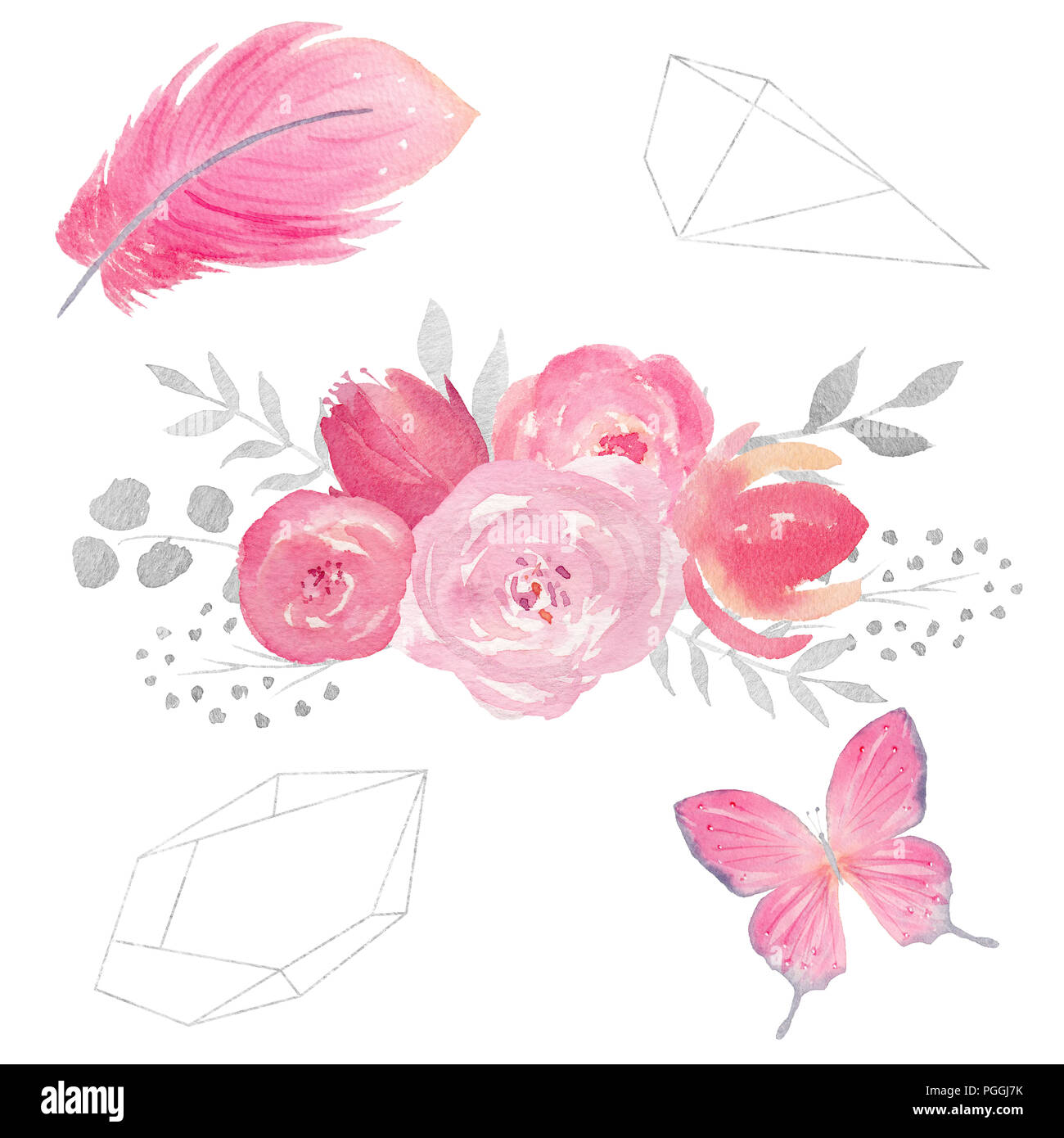 Set of watercolor floral composition with flowers, leaves, butterfly ...