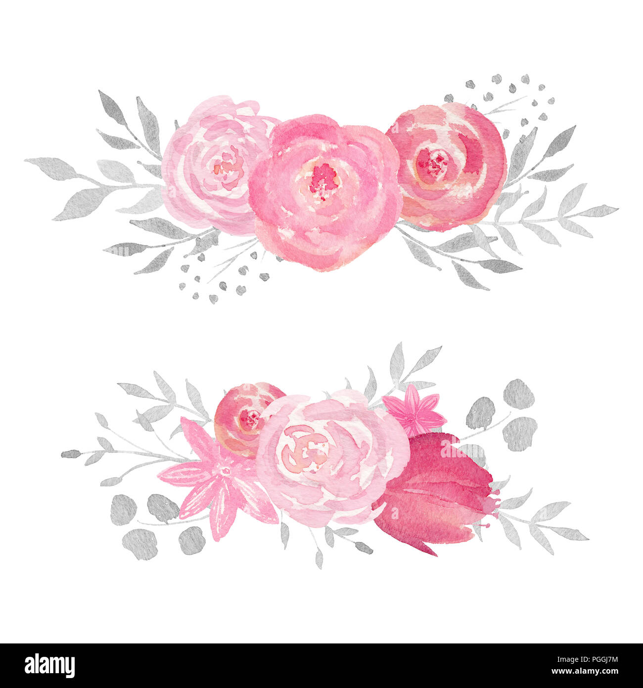 Set of watercolor floral composition with rose, leaves, flowers and ...