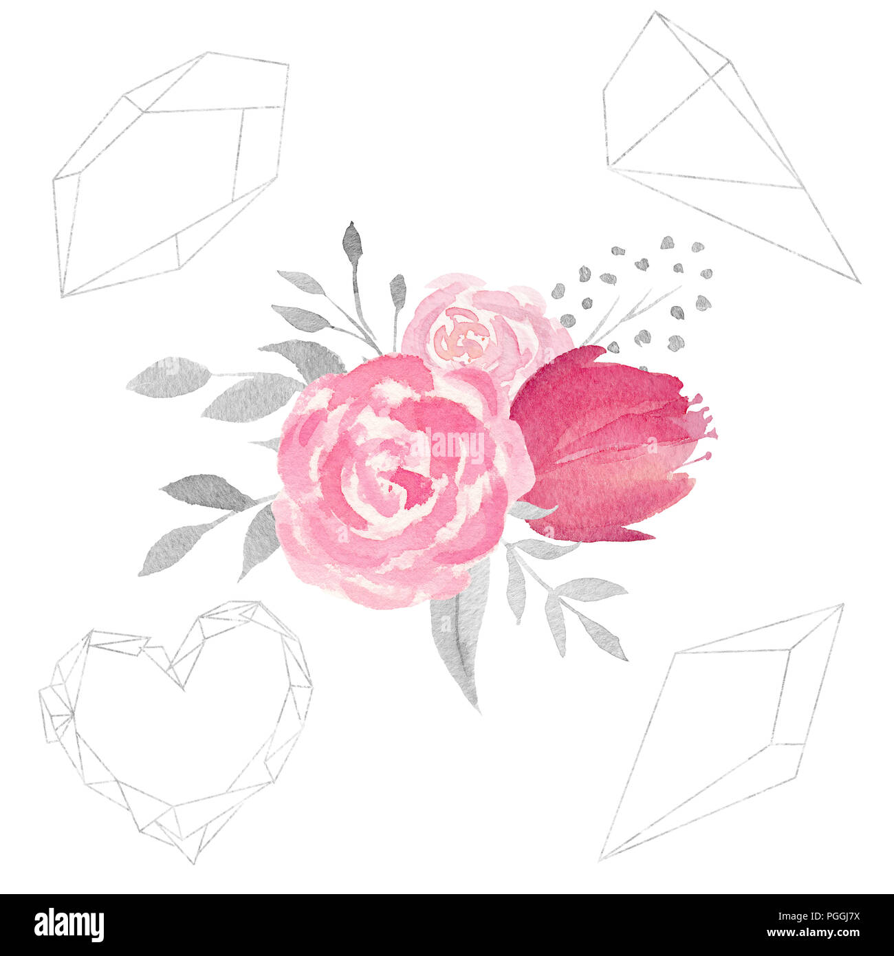 set of watercolor floral composition with flowers leaves and