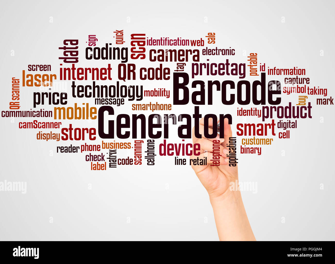 Barcode Generator word cloud and hand with marker concept on white