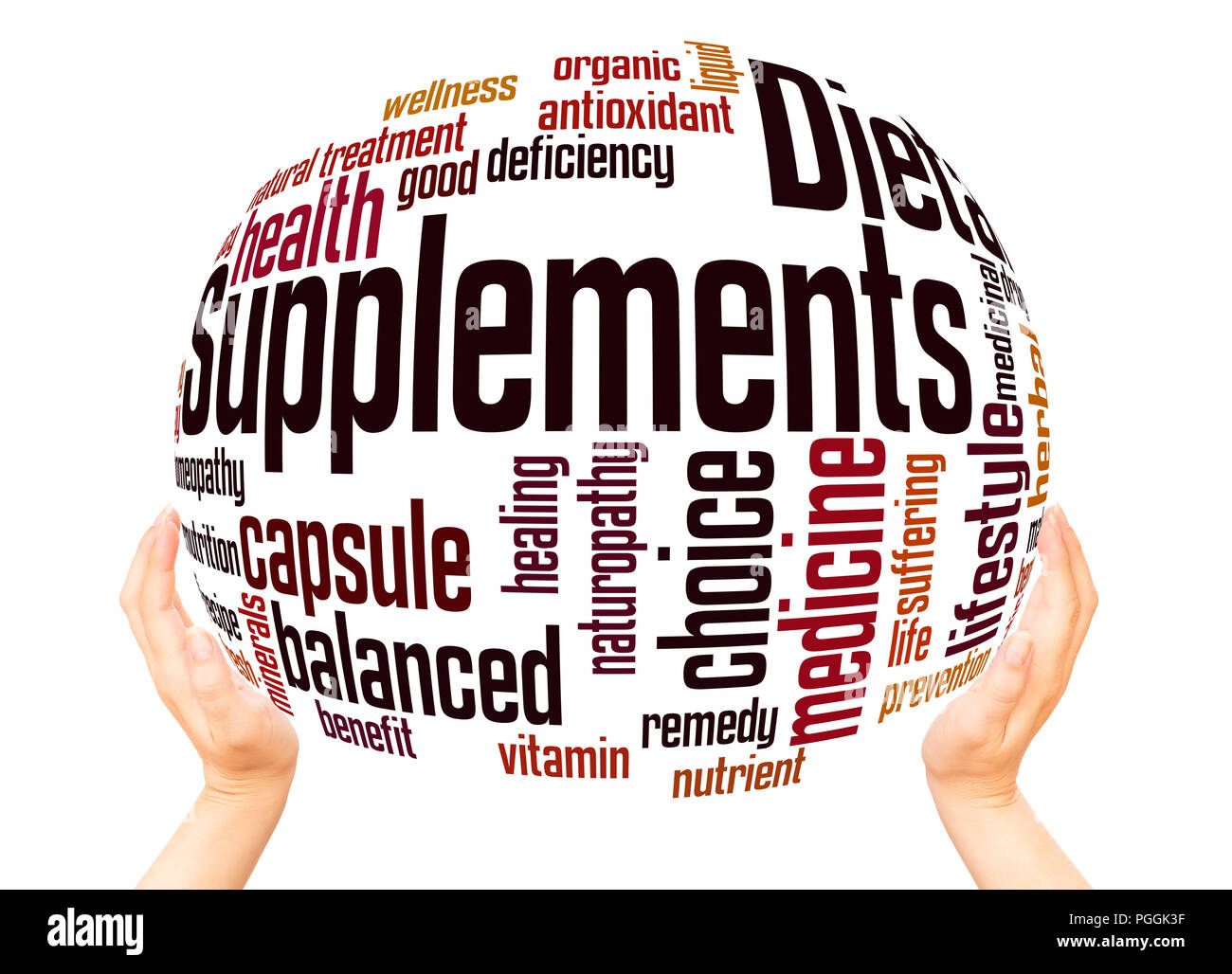 Dietary supplements word cloud sphere concept on white background. - Stock Image