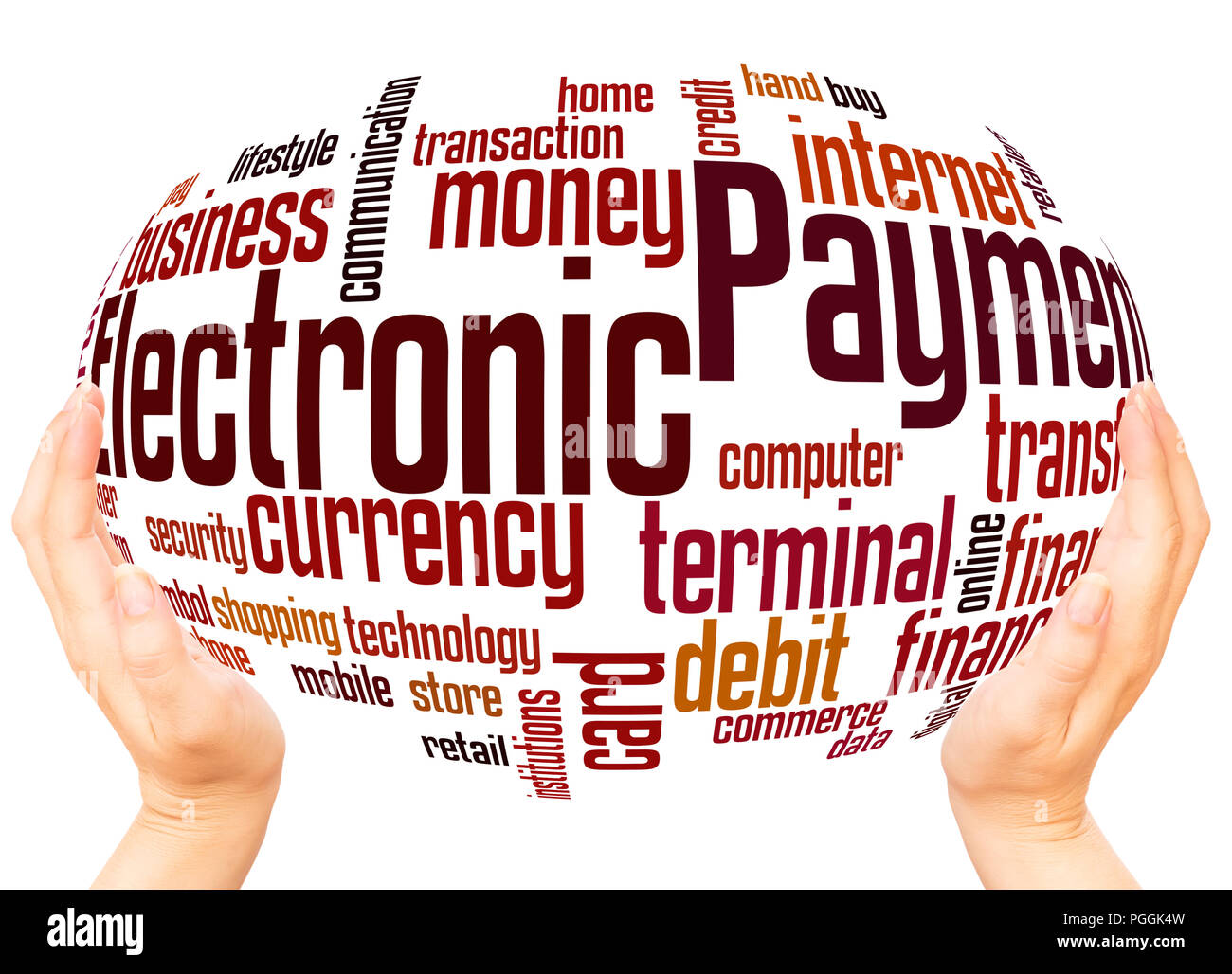 Electronic payment word cloud hand sphere concept on white background. - Stock Image