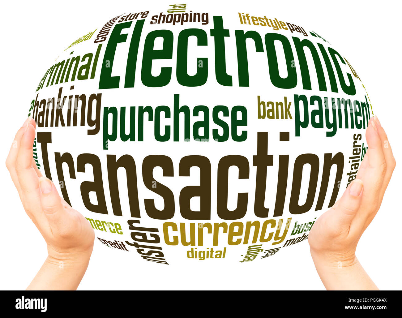 Electronic Transaction word cloud hand sphere concept on white background. - Stock Image