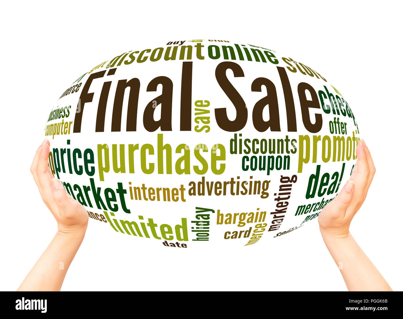 Final sale word cloud sphere concept on white background. - Stock Image