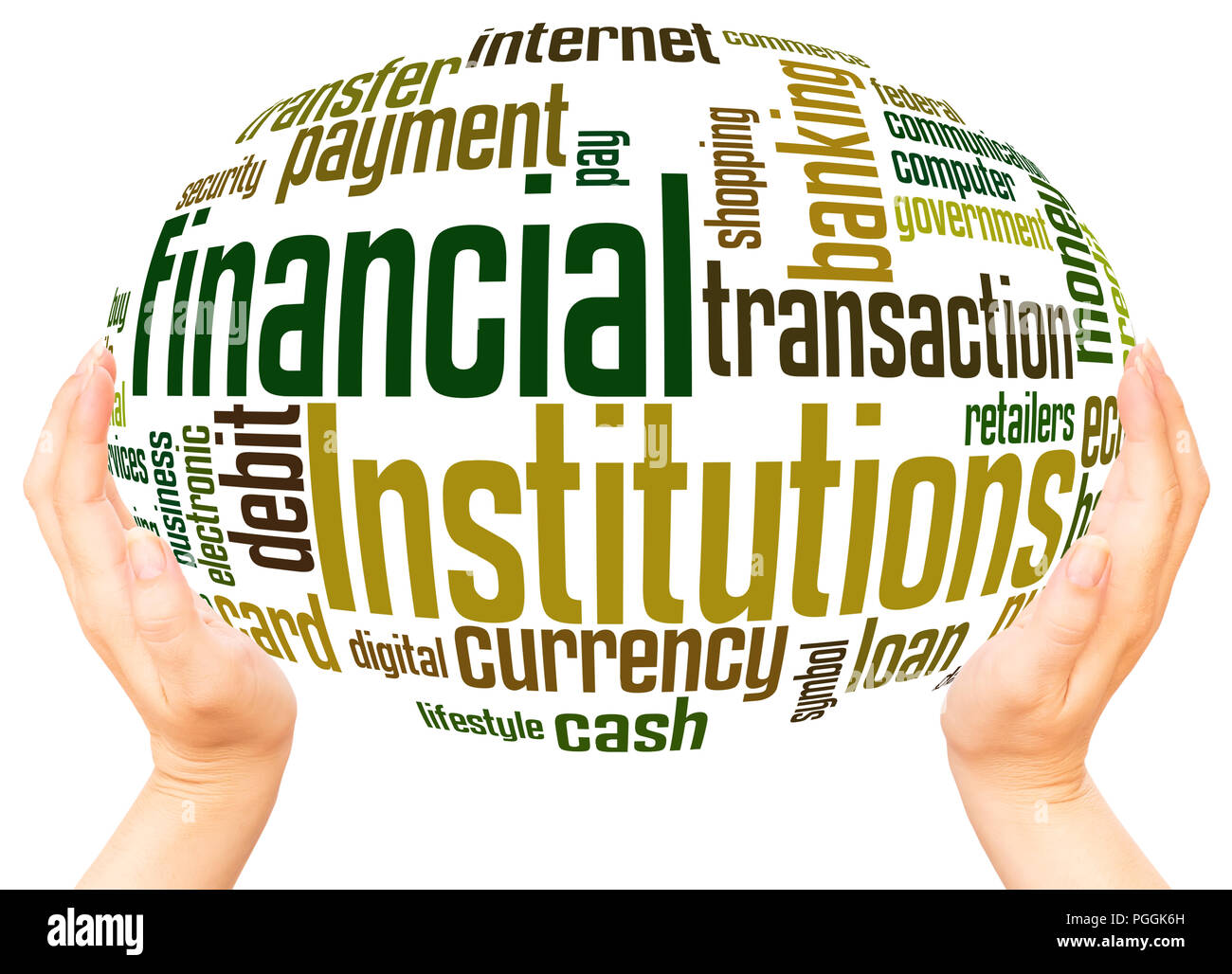 Financial Institutions word cloud hand sphere concept on white background. Stock Photo