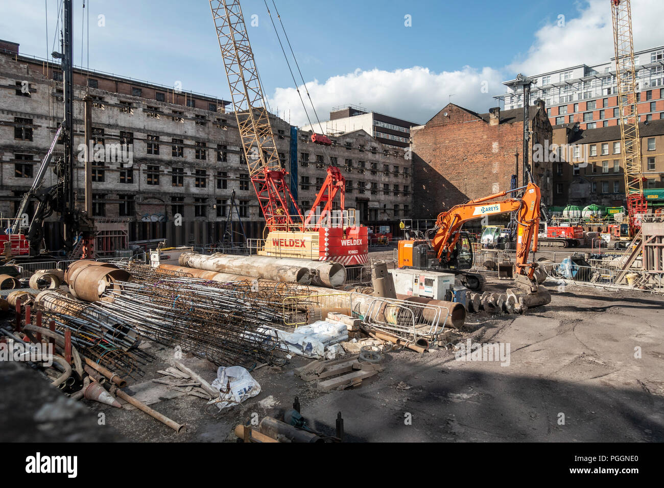 Construction work on the mixed-use development to be known as Atlantic Square by BAM construction company. The first building will be leased by HMRC a - Stock Image