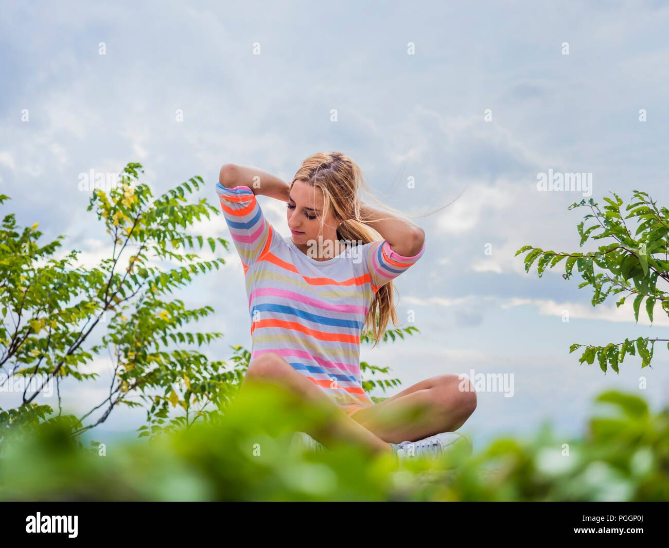 Female adolescent teenager girl outdoors - Stock Image