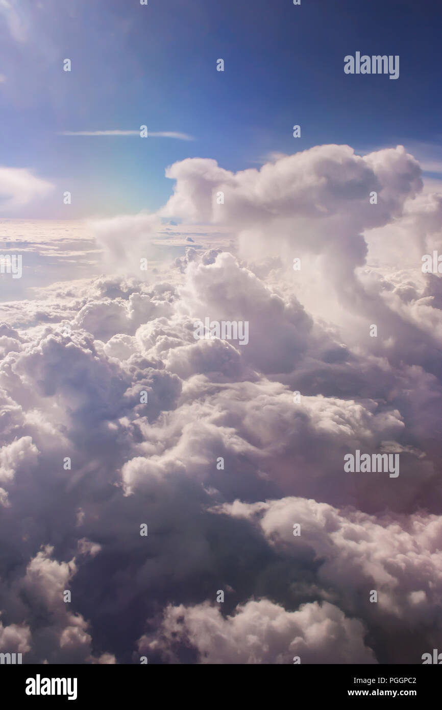 An aerial view of a beautiful cloudy sky. - Stock Image