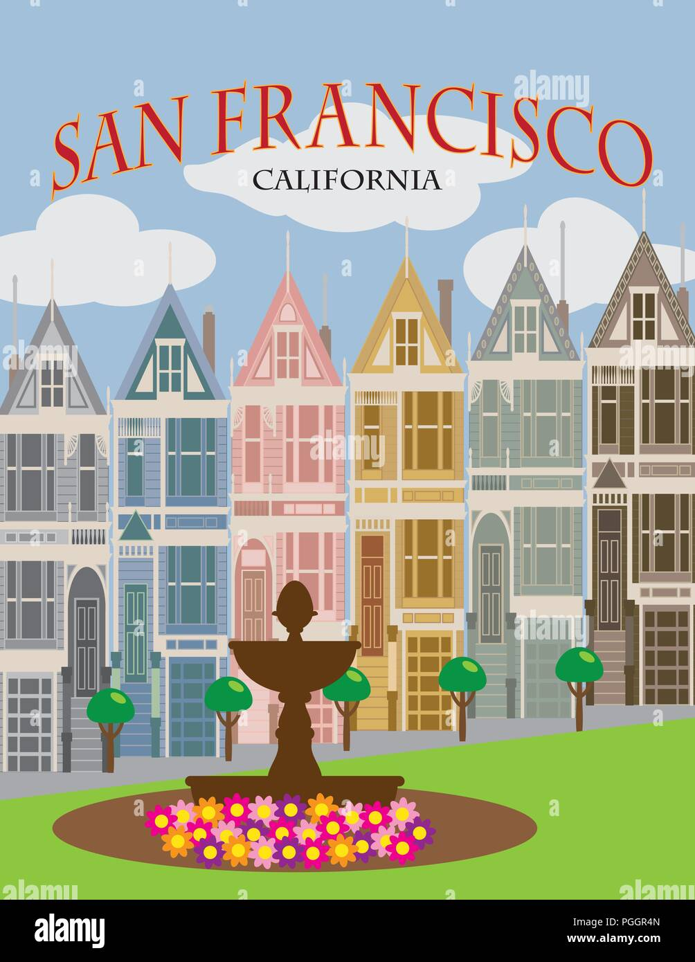 Painted Ladies Victorian and Edwardian row houses in San Francisco California Color Poster Illustration Stock Vector