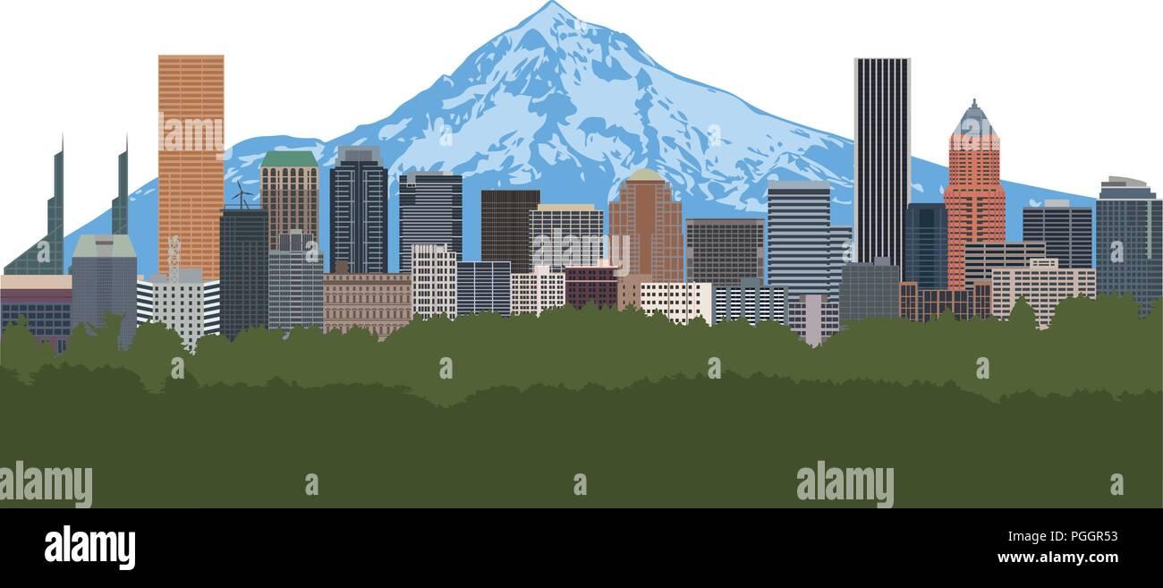 Portland Oregon city downtown skyline with Mount Hood color illustration Stock Vector